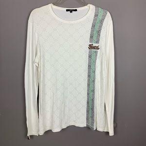 Authentic Gucci men's logo white long sleeve shirt